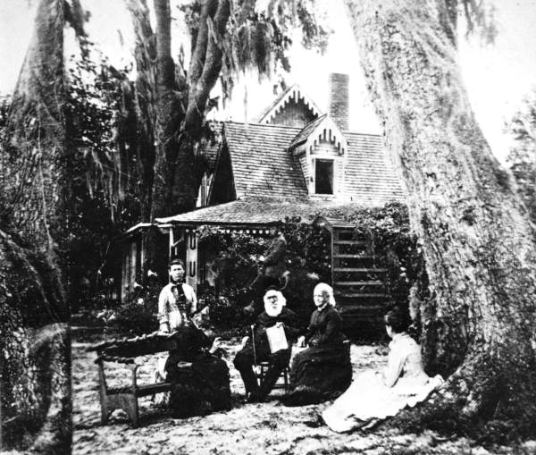 harriet beecher stowe family in front of mandarin fl home